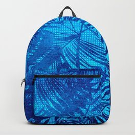 Turquoise Teal Palm Leaves Pattern Backpack