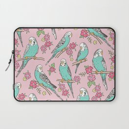 Budgie Birds With Blossom Flowers on Pink Laptop Sleeve