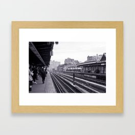 New York Subway Black and White Framed Art Print