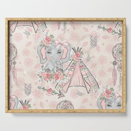 Pretty As A Peach Baby Elephants and Elements Serving Tray