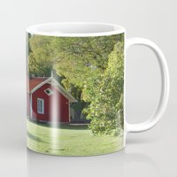 swedish Mugs featuring Swedish Cottage  by Sarah Osterman