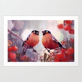 Bullfinch Love Art Print