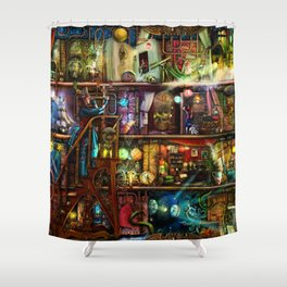 The Fantastic Voyage - a Steampunk Book Shelf Shower Curtain