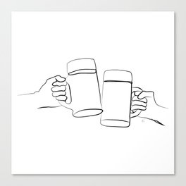 """"""" Kitchen Collection """" - Two Hands Holding Beer Glasses Canvas Print"""