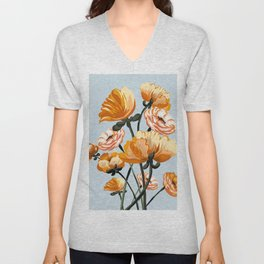 California poppies, Spring flowers warm colors, Unisex V-Neck