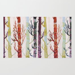 Color Birch Trees Rug