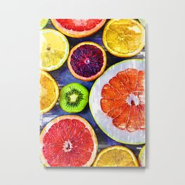 Colorful Citrus & Kiwi Club - For Fruit Lovers Metal Print