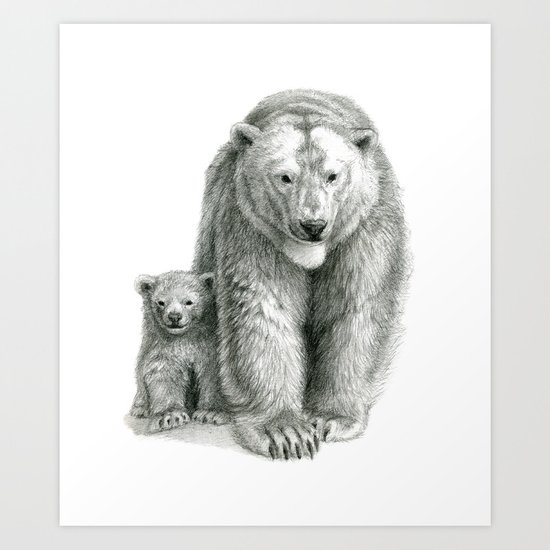 Polar bear and cub SK041 Art Print