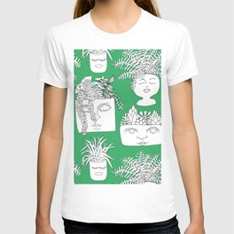 Illustrated Plant Faces in Kelly Green T-shirt