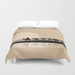 Camel Caravan going through the Desert Duvet Cover