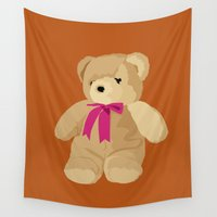 teddy bear Wall Tapestries featuring Teddy Bear by Design4u Studio
