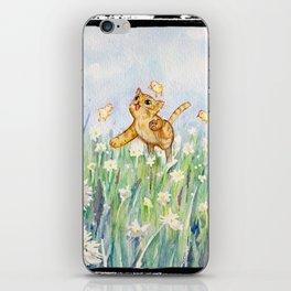 cute cat frolicking with chicks iPhone Skin