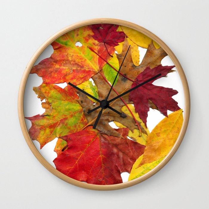 Autumn Fall Leaves Foliage Art Wall Clock
