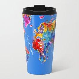 world map color splatter blue Travel Mug