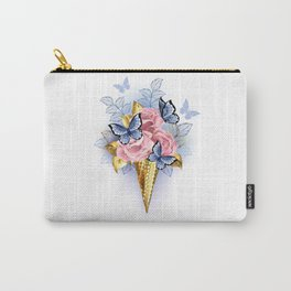 Waffle Cone with Pink Roses Carry-All Pouch