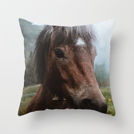Brown Pony with a Cute Face Throw Pillow