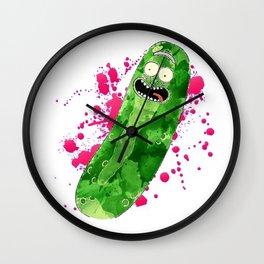 watercolor Pickle Rick cartoon Wall Clock