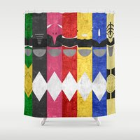 power rangers Shower Curtains featuring Mighty Morphin Power Rangers by Some_Designs