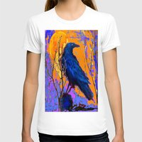 blankets T-shirts featuring Blue Raven Orange Moon Night Art by SharlesArt