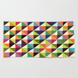 Geometric Pattern #86 (colorful mid-century triangle) Beach Towel