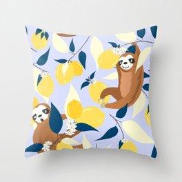 Sloth & Lemons Hangout Throw Pillow