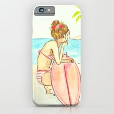 Surfer Girl Watercolor iPhone 6s Slim Case