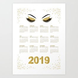 Lashes  with gold glitter 2019 calendar illustration Art Print