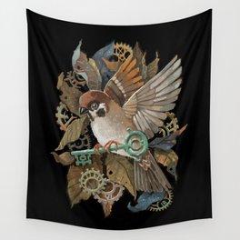 Clockwork Sparrow Wall Tapestry