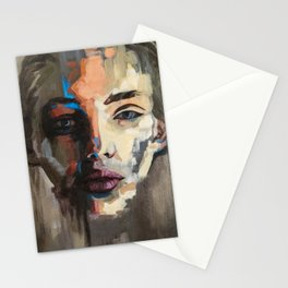 """Dissolve"" woman abstract painting Stationery Cards"