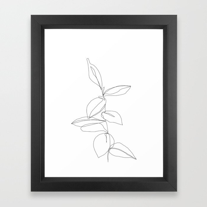 One line minimal plant leaves drawing - Berry Framed Art Print