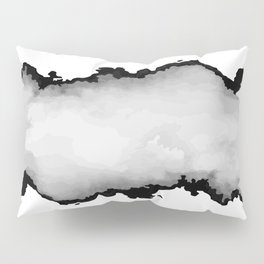 White Gray and Black Monochrome Graphic Cloud Effect Pillow Sham