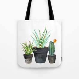 Watercolor cactus trio | hand painted cactus print Tote Bag
