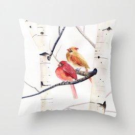 Cardinals and Birch Trees  Throw Pillow