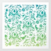 floral dinos of the rainbow Art Print