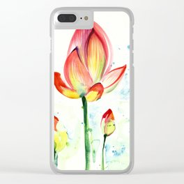 LOTUS FLOWER WITH BUDS Watercolor Clear iPhone Case