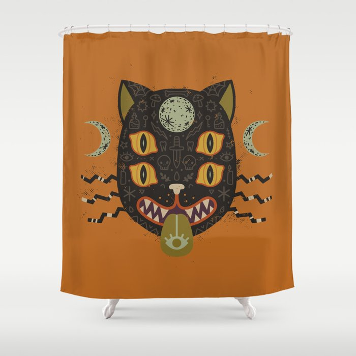 Spooky Cat Shower Curtain