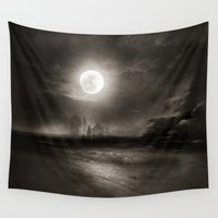 the moon Wall Tapestries featuring Moon by Viviana Gonzalez