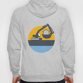 Excavator Digger Handling House Circle Retro Hoody