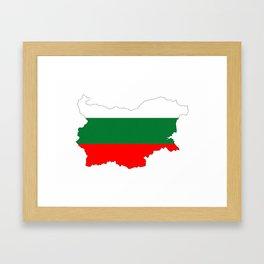 bulgaria flag map Framed Art Print