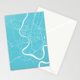Bangkok Thailand Minimal Street Map - Turquoise and White Stationery Cards