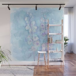 Pale Blue Hollyhock Foxglove Minimalist Watercolor Wall Mural