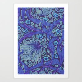 William Morris Indigo Forget Me Not Floral Art Nouveau Kunstdrucke