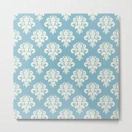 Damask Powder Blue Floral Metal Print