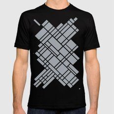 Map Outline Grey 45 MEDIUM Black Mens Fitted Tee