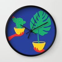 plants Wall Clocks featuring Plants by cristina benescu