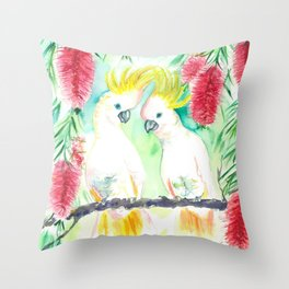 Cockatoos in bottle brush tree Throw Pillow