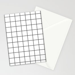 Modern Windowpane White Line Minimal Grid Home Decor Stationery Cards