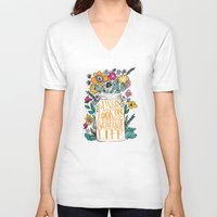 bright V-neck T-shirts featuring ALWAYS LOOK ON THE BRIGHT SIDE... by Matthew Taylor Wilson
