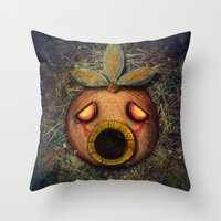 majoras mask Throw Pillows featuring Deku Mask by Stephano Herrera