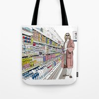 lebowski Tote Bags featuring Jeffrey Lebowski and Milk. by DJayK